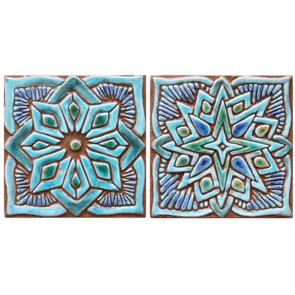 "2 Moroccan decor ceramic tiles 5.9"" by G.Vega Ceramica, wall art tile in blues and greens, perfect wall tiles for kitchens, bathrooms and outdoors, MOROCCAN DECO"