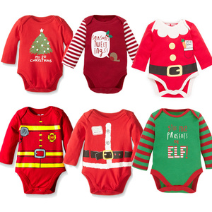 2016 Wholesale Winter Clothes 100% Cotton Christmas Baby Romper