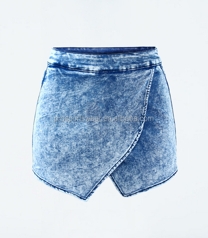 Women`s Fldas Y Shorts High Waist Acid Wash Denim Short Pants For Women Jeans Skort