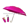 Cute Lovely Design Easy Carrying Lady Gift Pink Five Fold Mini Pouch Curve Handle Umbrella