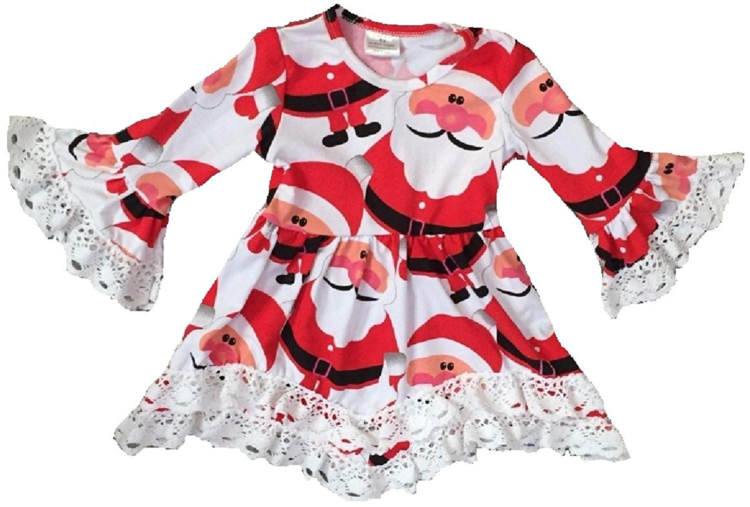 442caca77476 Get Quotations · BluNight Collection Little Girl Dress Kids Christmas Santa  Claus Lace Ruffle Cotton Girl Dress 2-