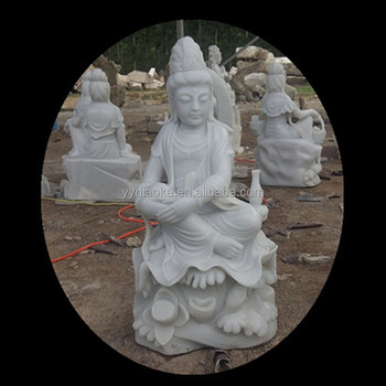White Color Laughing Buddha Garden Statues With Lotus Base