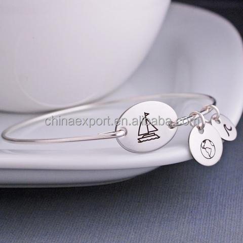 Fashion jewelry wholesale lovely boat map childrens name power bracelet