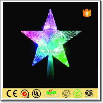 Wholesale arylic christmas star tree topper with flashing led light / LED star tree topper