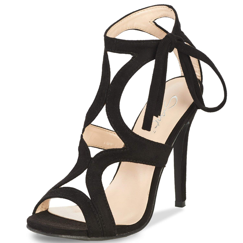 15a024dc01603 Get Quotations · JSUN7 Women s Lace-up Stiletto High Heel Sandals Basic  Office Summer Dress Shoes Open Toe