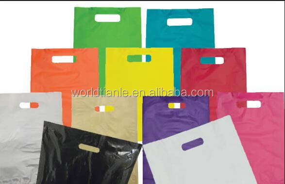 "Plastic Bags Colorful Low Density Shopping Merchandise Die Cut Handle bag 9"" x 12"""