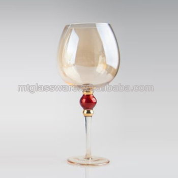 Balloon Shape Wine Glasses With Long Stem And Red Bead