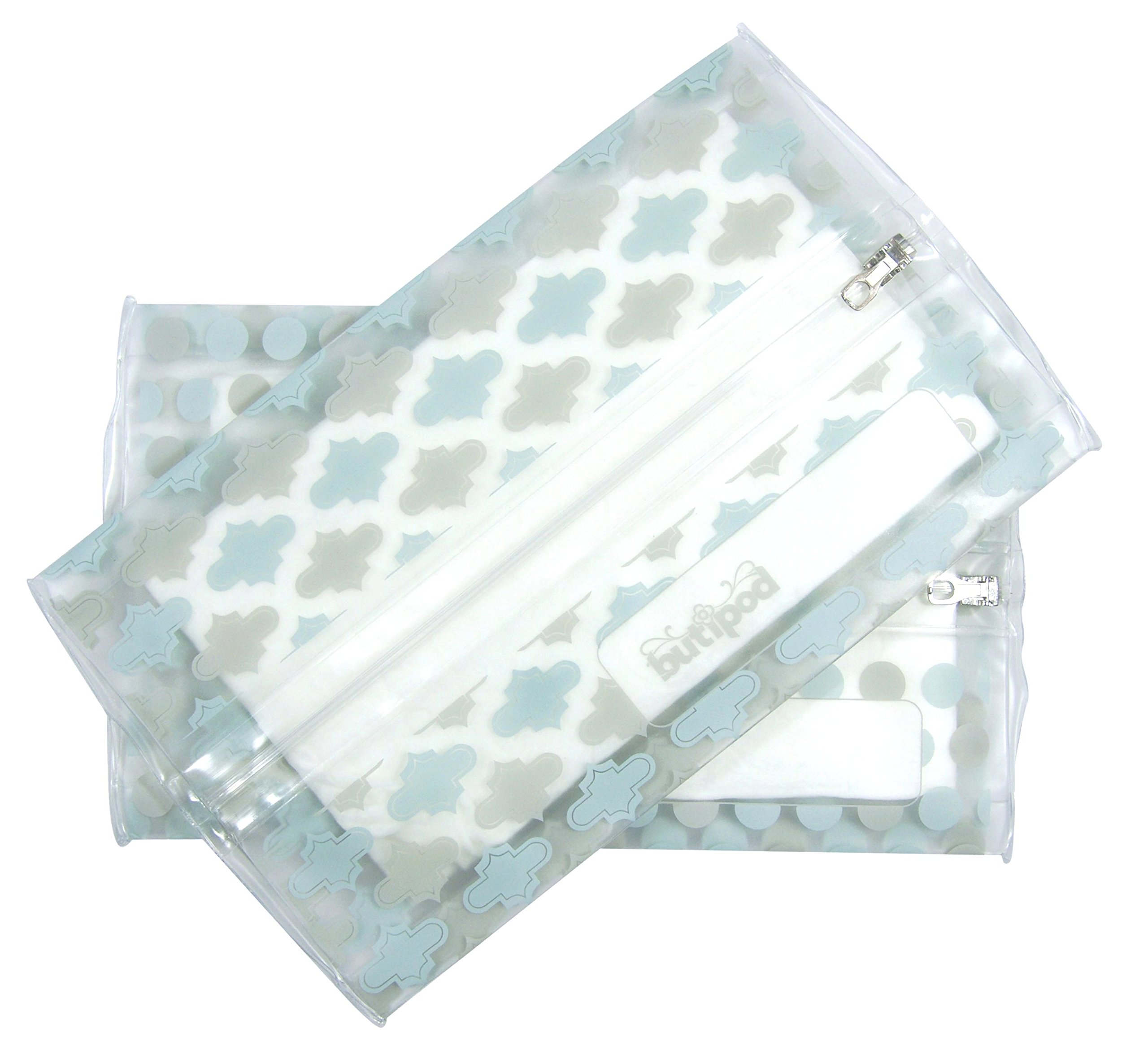 Buti-pods Wipes Dispenser & Travel Case | no more dry wipes | easy to refill ! (2-Pack, aquamarine blue grey tiles & dots)
