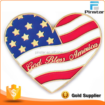 Heart Shaped American Flag God Bless America Lapel Pin