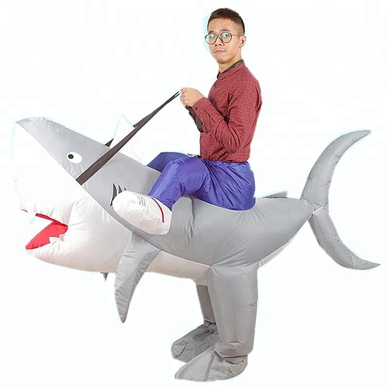 Fancy inflatable ride on shark costume adult inflatable shark suit party costume