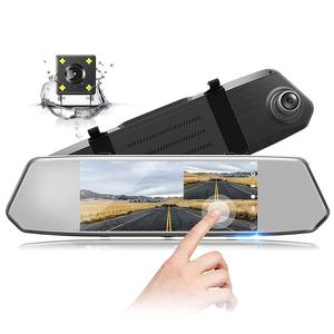 RERAND Factory Price 7-Inch Touch Screen Dash Cam Front and Rear Dual Channel Car Mirror Camera