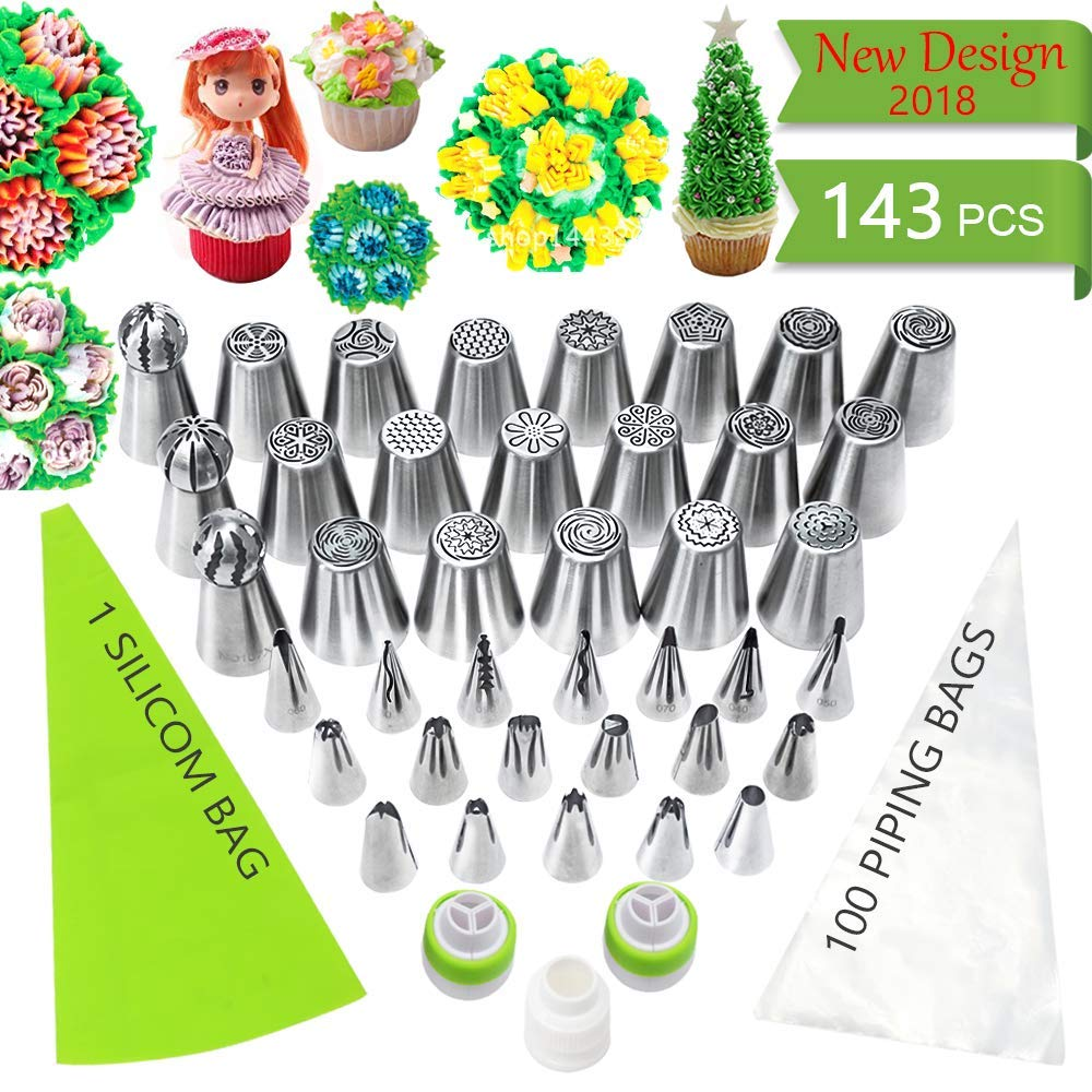 Russian Piping Tips Set 143 PCS - Cake Decorating Supplies kit with 18 Large Icing Nozzles and 18 Icing Tips, 3 Ball Russian tips, 3 Couplers, 100 Disposable Pastry Bags & 1 Silicon Bag, Baking Tools