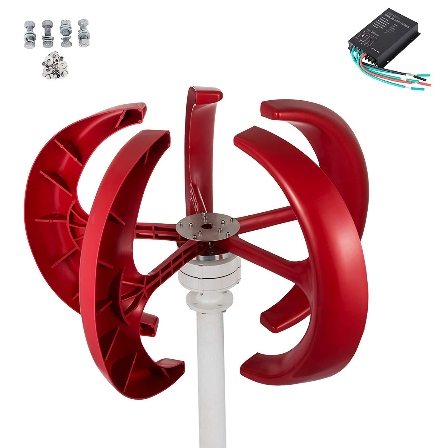 Mophorn Wind Turbine 400W 12V Red Lantern Vertical Wind Generator 5 Leaves Wind Turbine Kit with Controller No Pole (400W 12V Red)