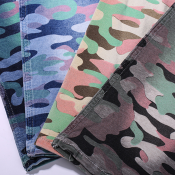 china camo cotton polyester rolls of stretch printed knit denim fabric