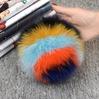 Multi color love heart fox fur pom poms/fox letter fur pompom ball alphabet fox fur keychain