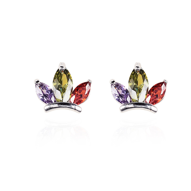 Korean New Fashion Women Wedding Colorful Crystal Earrings AAA Cubic Zircon Crown Shape Rhinestone Stud Earrings