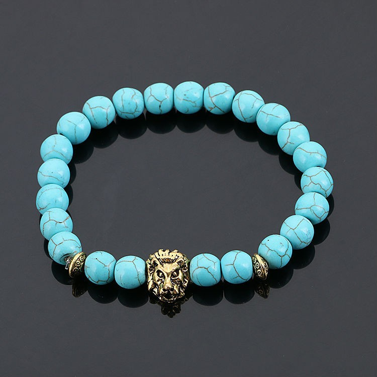 Fashion natural stone beads bracelet hand string lava-rock lion bracelet