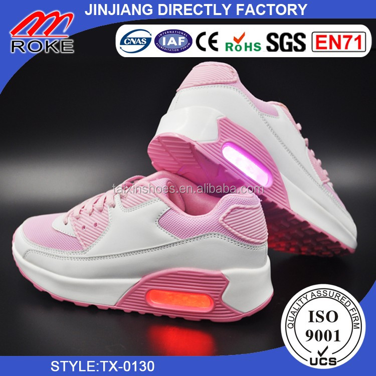 air cushion outsole with light up led shoe for woman
