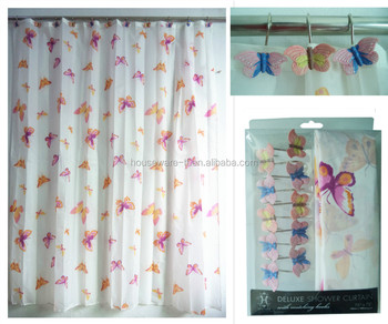 Elegant Fashion Animal Design Pink Butterfly Double Swag Fabric Shower Curtain With Resin Hooks