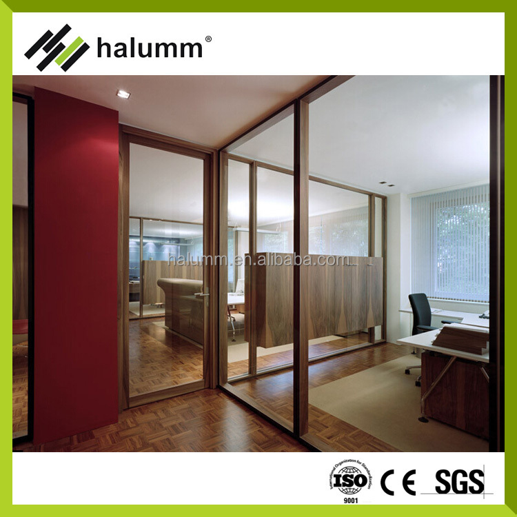 Glass Wall Office Partition With Glass Laminate Panels Divider ...