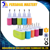 Wholesale Colorful LED Light Wall Home Travel AC Power Charger Adapter 3 Ports USB Charger For mobile Phone JKUC20