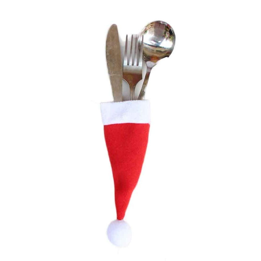 "Christmas Decorative,Kehome 1Set Mini Christmas Hat Cup tableware Knife Fork Set Christmas Hat Storage Tool 4.7"" X 2.4"" (1)"