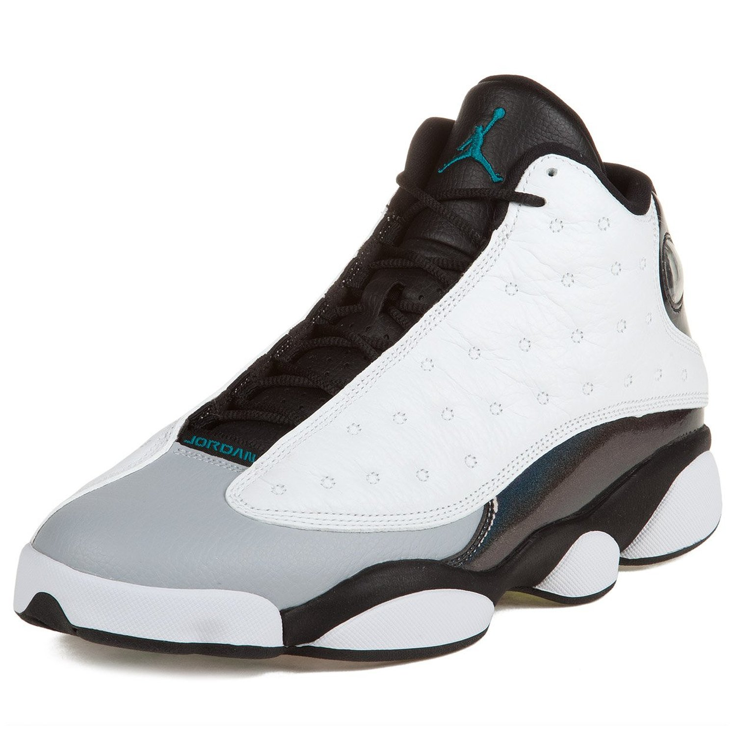 Nike Mens Air Jordan 13 Retro White/Tropical Teal-Black-Wolf Grey Leather Basketball Shoes Size 8