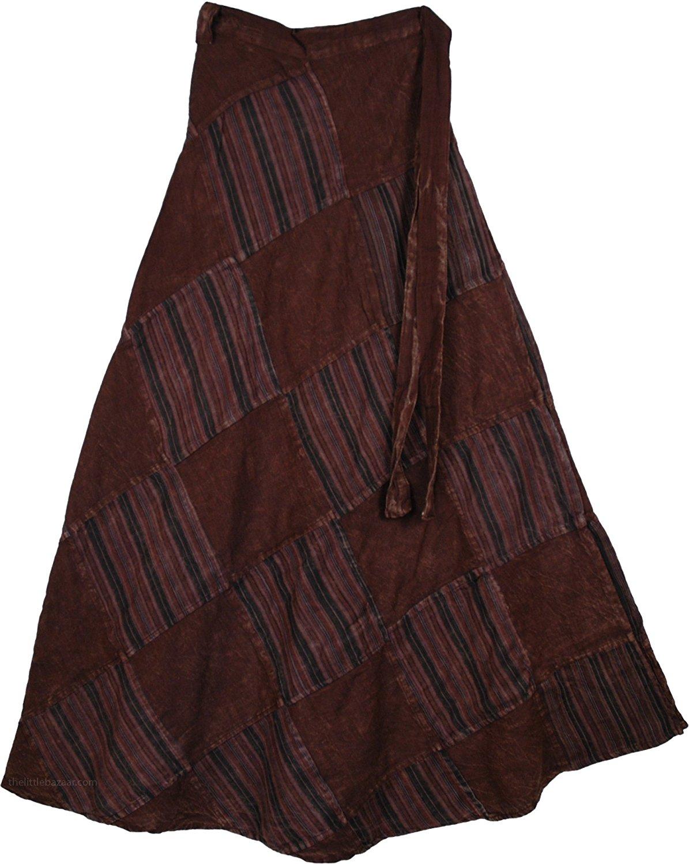"TLB - Buccaneer Chocolate Wrap Around Skirt - L: 37""; W: Flexible Wrap Around"