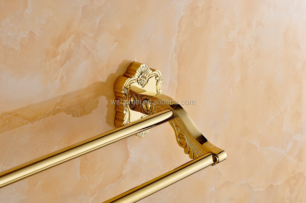 Art Carving Household Hotel Bathroom Accessories Wall Mounted Gold Brass Double Bar Towel Bar BM15278 Towel Holder