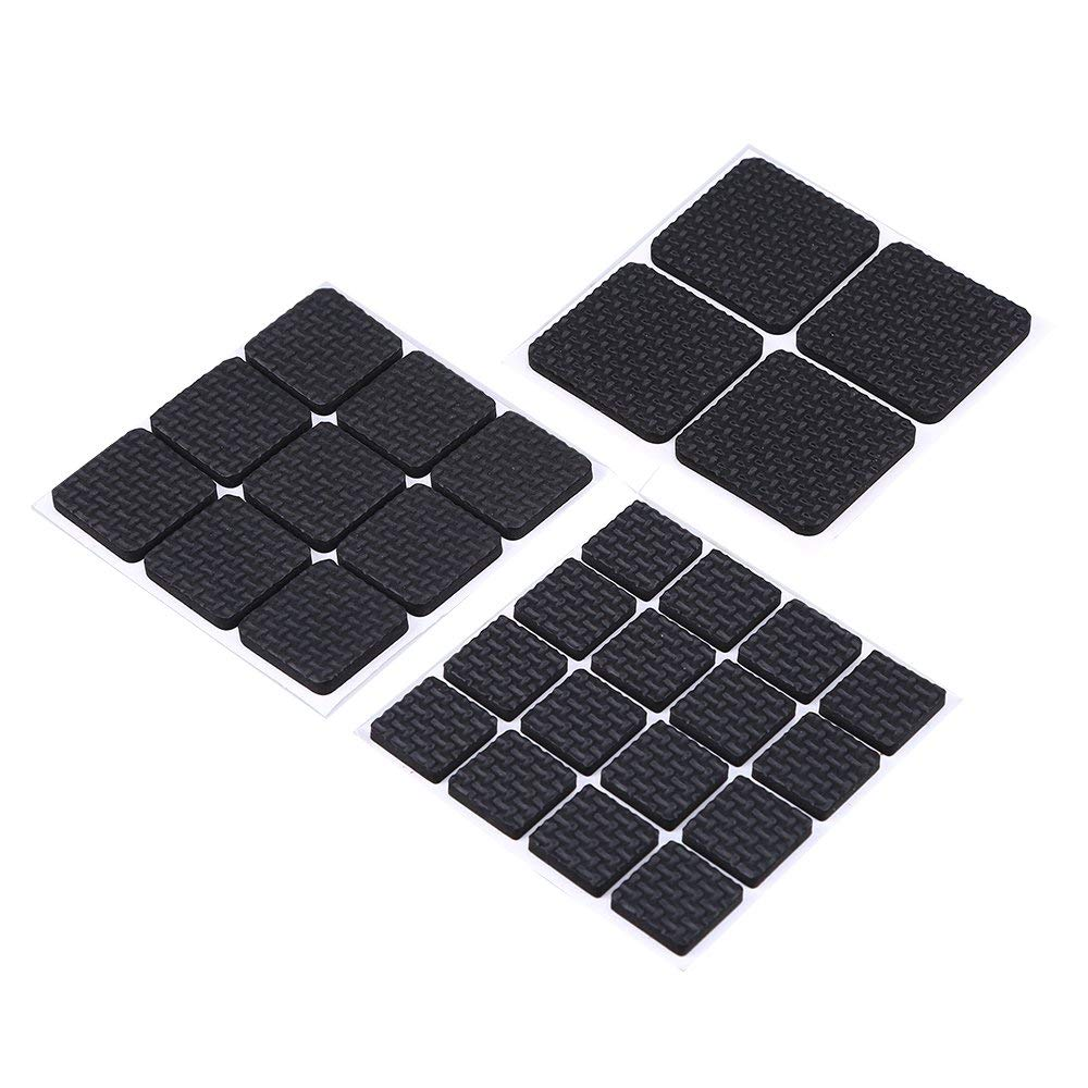 Furniture Gripper, WCIC 29Pcs Anti-slip Rubber Pads With Self-adhesive 20x20MM/26x26MM/40X40MM Square For Table Chair Feet Black