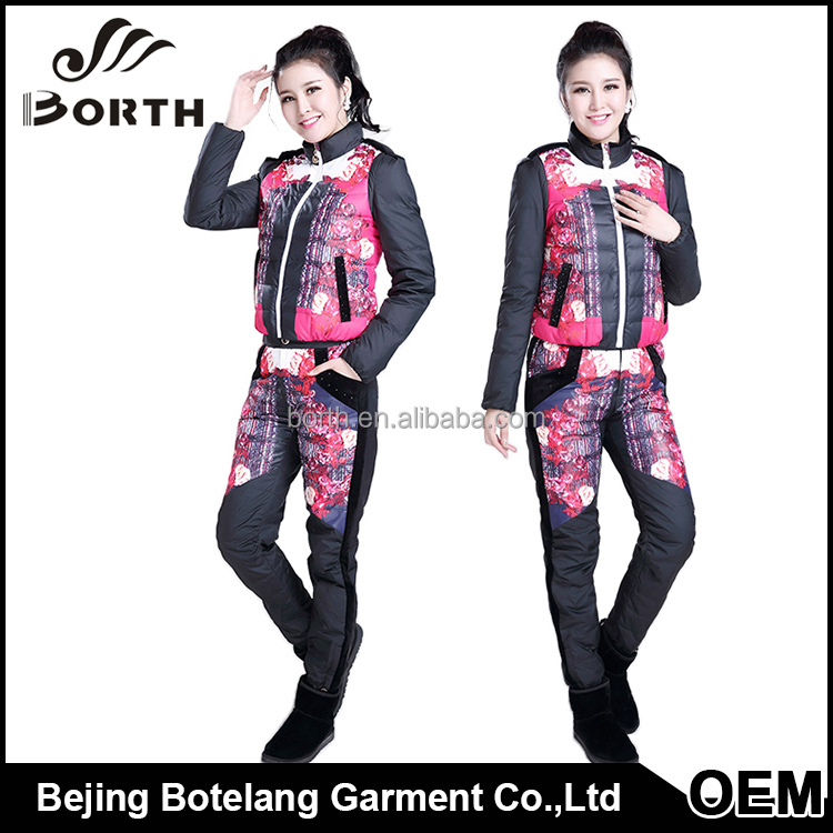 Promotion lady windproof printed pattern pant White duck down Ski suit down jacket sets