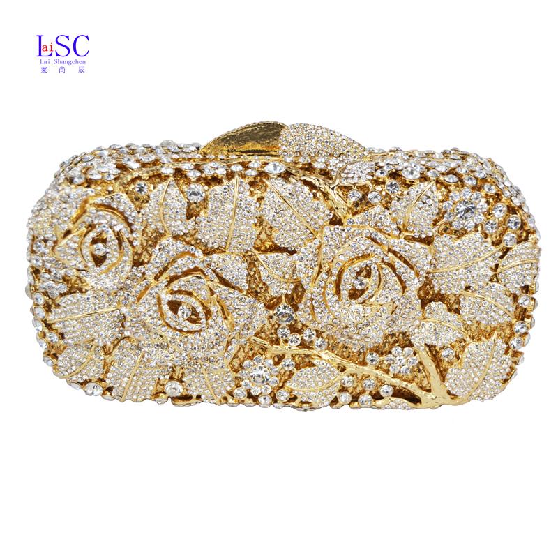 laisc luxury crystal clutch evening bag gold rose flower party purse women wedding bridal. Black Bedroom Furniture Sets. Home Design Ideas
