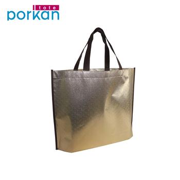 c251013361 Golden Metallic Pp Laminated Shopping Laser Non Woven Bag - Buy Customized  Logo Pp Non Woven Bag