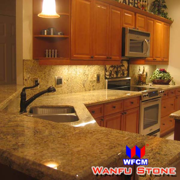 Santa Cecilia Light Granite Kitchen Countertop Solid Wooden ...