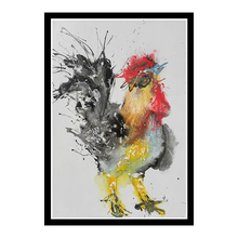 Hand painted zodiac chicken semi abstract animal oil painting