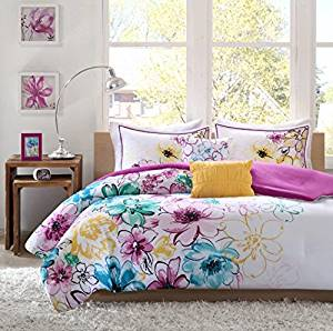 4 Piece Girls Floral Themed Comforter Twin TXL Set, Pretty Abstract Flower Pattern, Beautiful All Over Summer Bedding, Colorful Flowers, White Light Pink Yellow Sky Blue Lavendar Purple
