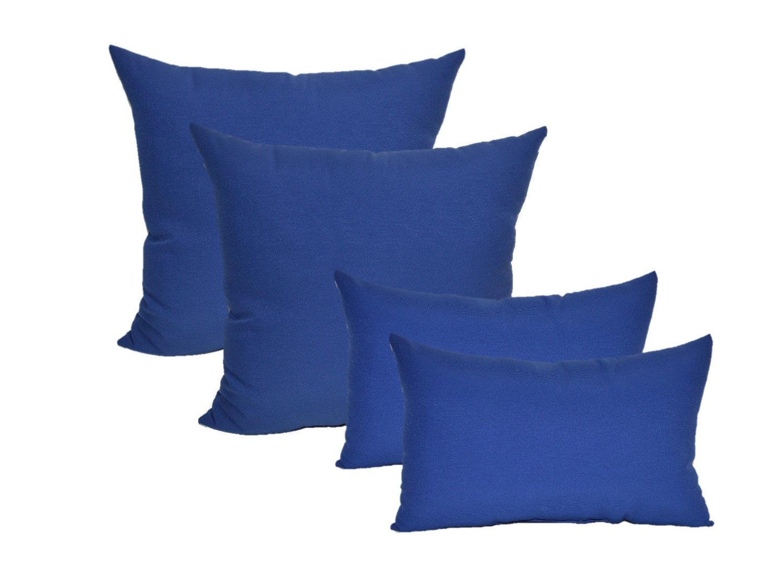 "Set of 4 Indoor / Outdoor Pillows - 17"" Square Throw Pillows & 11"" x 19"" Rectangle / Lumbar Decorative Throw Pillows - Solid Royal / Admiral Blue Fabric"