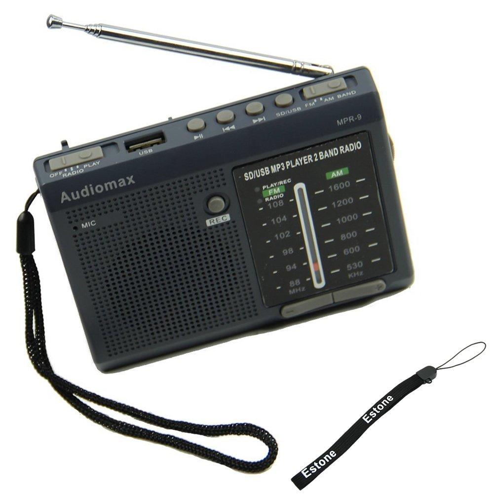 Estone Portable AF FM Shortwave Radio Receiver With USB SD MP3 REC Player Blue