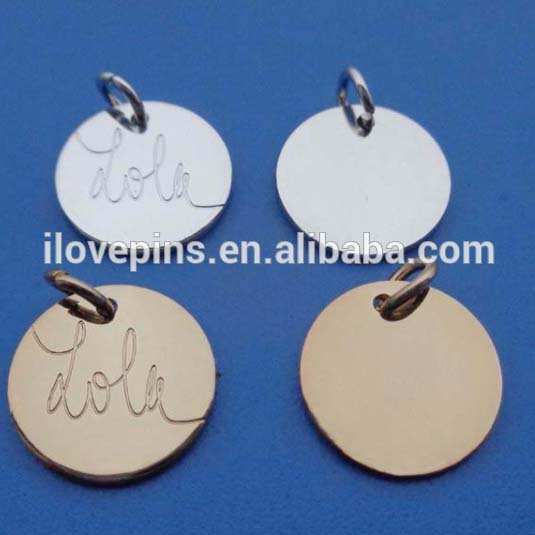 Hand Stamping Round Shape Engraved Logo Mini Jewelry Tag Charm <strong>Pendants</strong>
