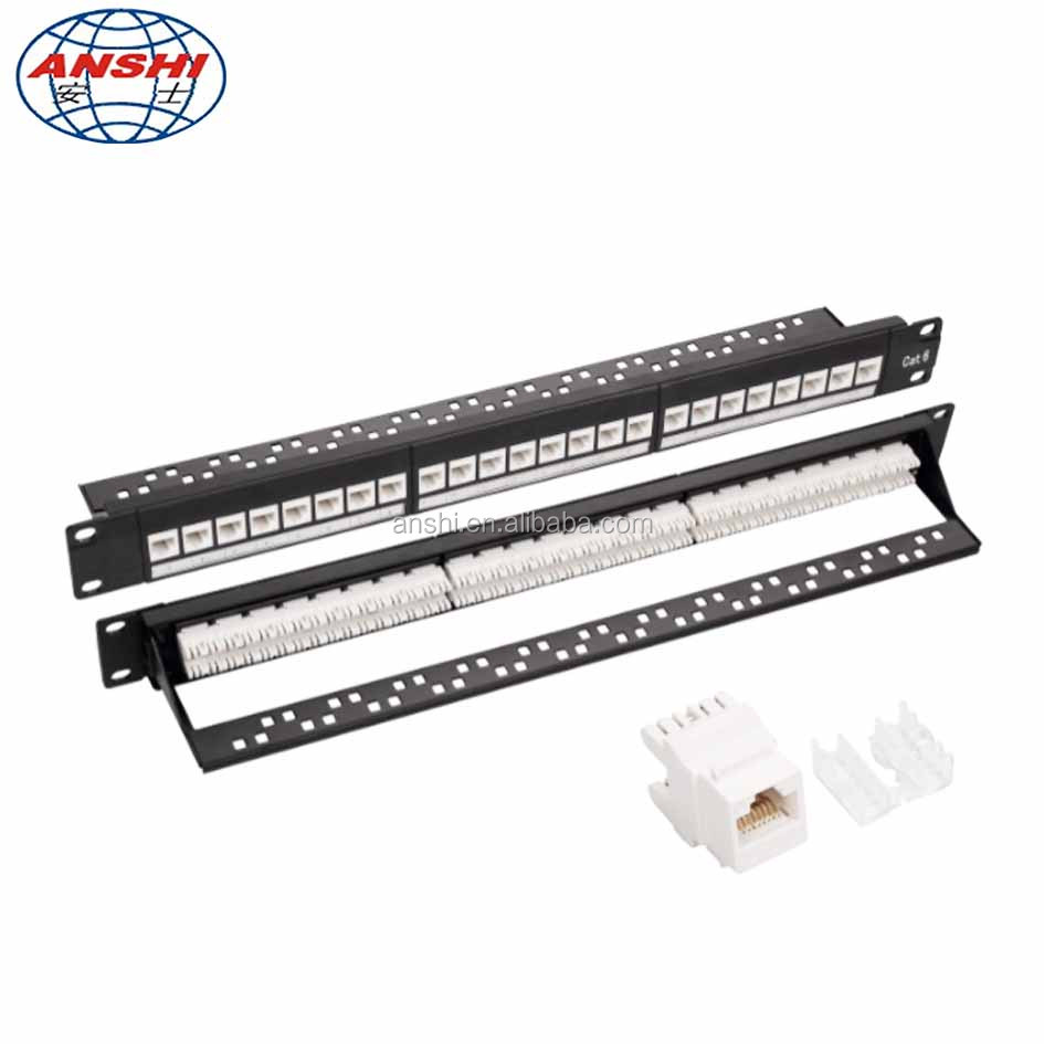 "ANSHI 19"" 1U 24 Port Cat6 UTP Snap-in Patch Panel"
