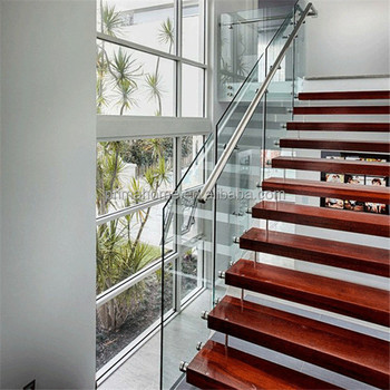 Genial Internal Wood Straight Stainless Steel Staircase Handle Glass Staircase