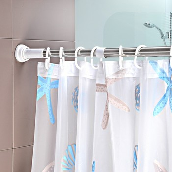 Stainless Steel Adjustable Curtain Poles Rods Holder Shower Rod