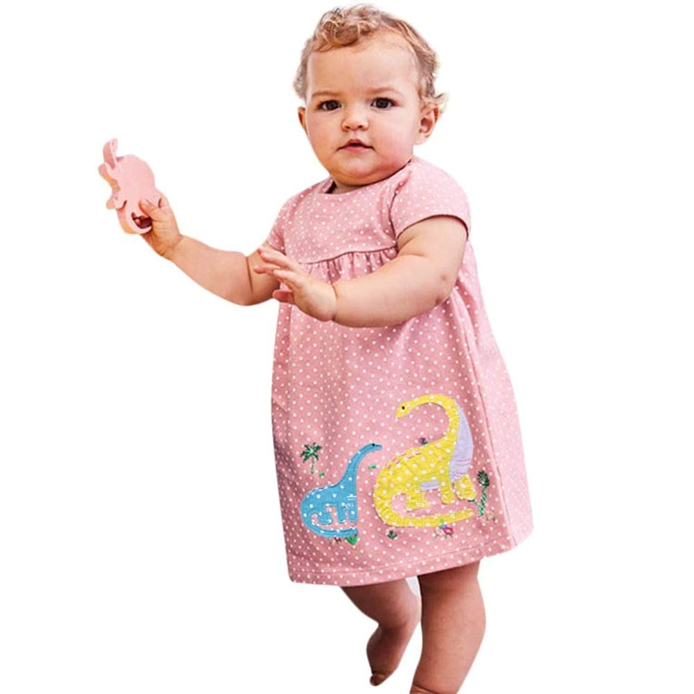 Fabal Infant Toddler Baby Kids Girls Dot Print Dinosaur Pattern Summer Dress