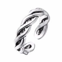 100% 925 Sterling Silver Cross Twisted Open Ring Vintage Style Lady Sterling-silver-jewelry Ring