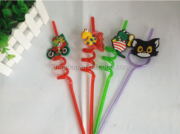 Colorful flavored PVC plastic drinking art straws with figure / PVC bent drinking straw / PVC drinking straw for advertising /