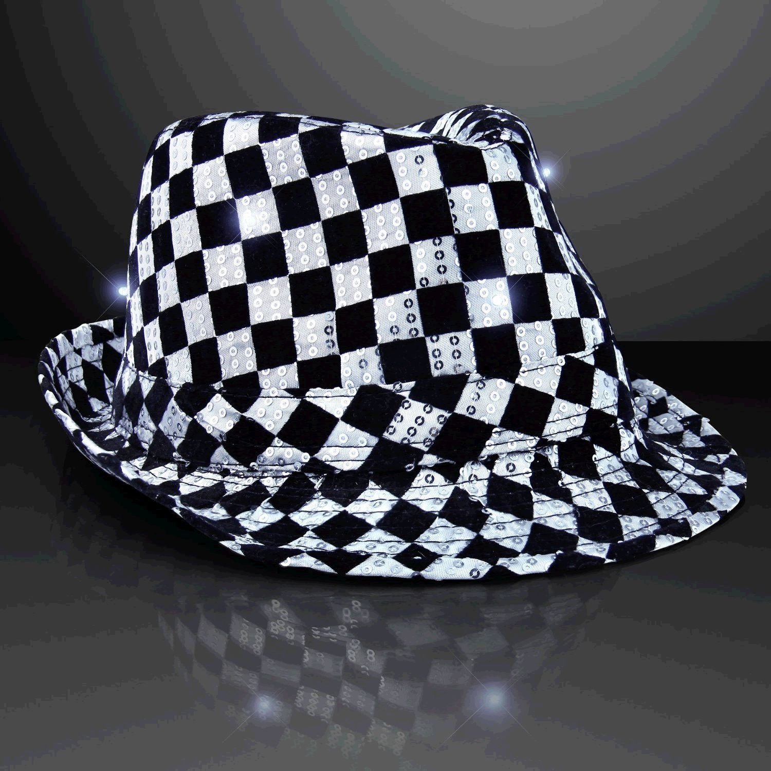 blinkee LED Flashing Fedora Hat with Checkered Sequins by