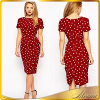 Womens 2016 Summer Style Vintage Polka Dot Elegant Tunic Retro Wear To Work Office Party Evening Wiggle Sheath Pencil Dress