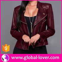 2016 wholesale ladies long sleeve zipper up red leather coat leather clothing