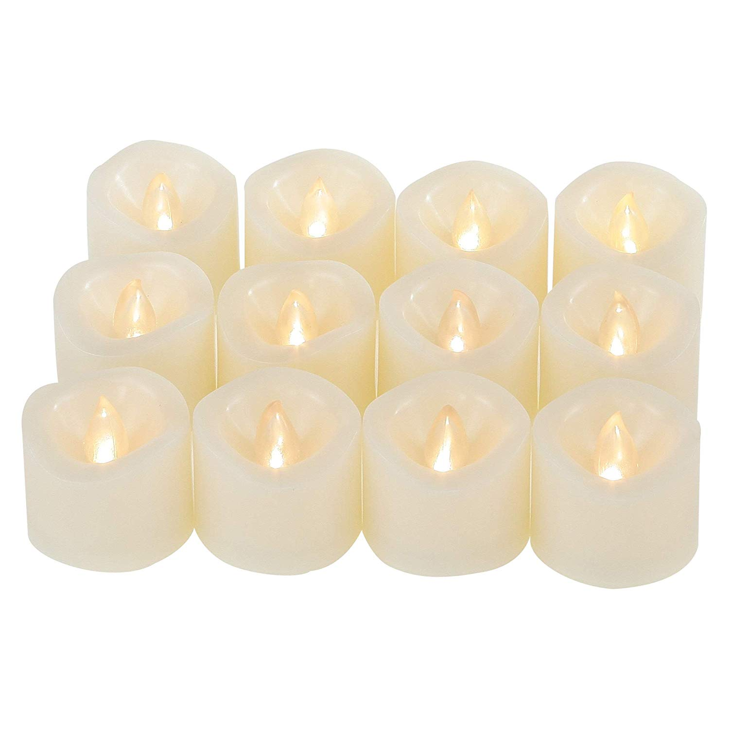 12pcs Flameless LED Tea Light with Timer Battery Operated Flickering Votive Candles for Thanksgiving Christmas Festival Celebration Decor Electric Amber Yellow Bulb Light Freewander