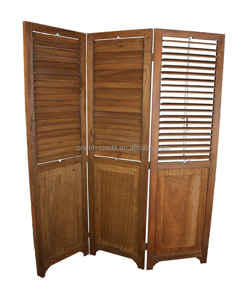 Hand-Carved 3 Panel Screen Room Divider Wood Folding Oriental Freestanding Tall Partition PrivacyChip Screen Room Divider